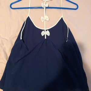 Tops - Navy Blue blouse with bows, Size Large